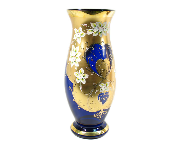 Bohemian Crystal High Enameled Vase Blue 40cm / 15.75""