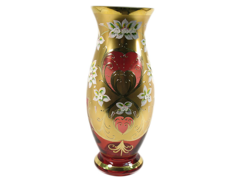 Bohemian Crystal High Enameled Vase Red 40cm / 15.75""