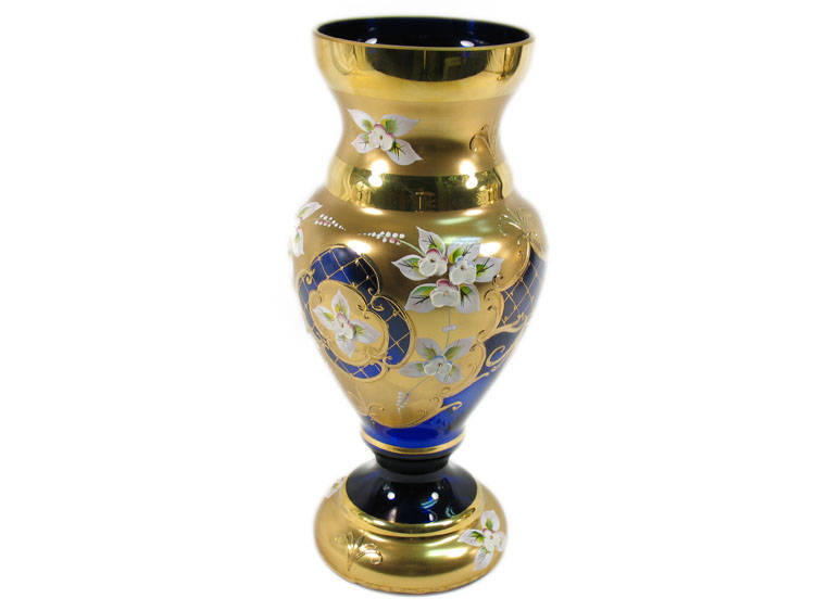 Bohemian High Enameled Vase Blue