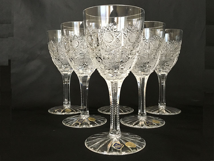 Crystal Bohemia Hand Cut Goblets Czech Set Of 6