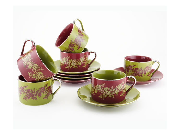 Classic Coffee and Tea  Nouveau Floral Teacups and Saucers