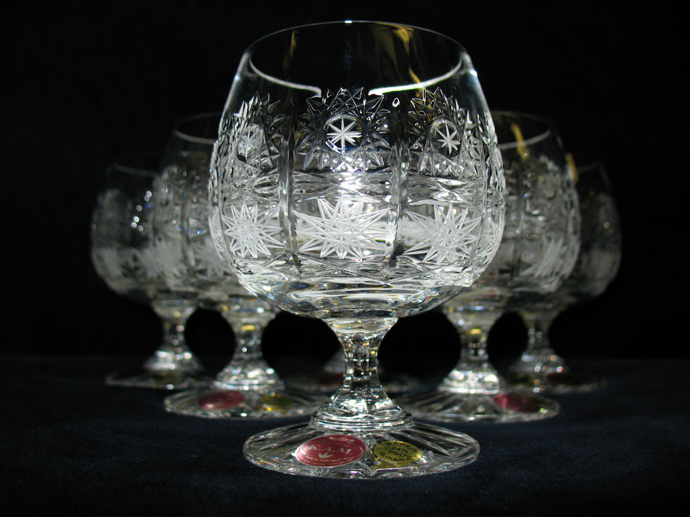 Crystal Brandy Goblets Slovakia Set of 6
