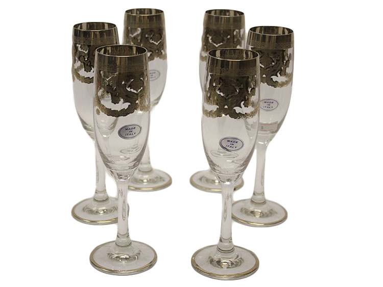 Italian Crystal Set of 6 Champagne Flutes with Platinum Design