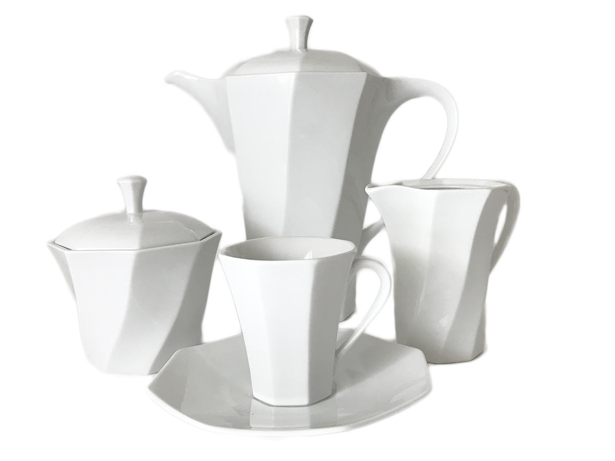 Porcelain Coffee Set For 6 Persons White Bormio
