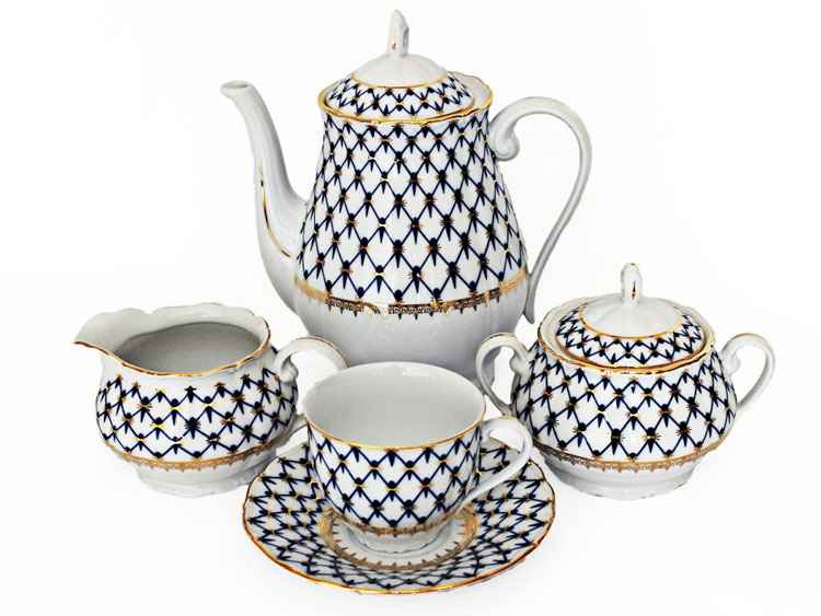 Cobalt Net Coffee Set
