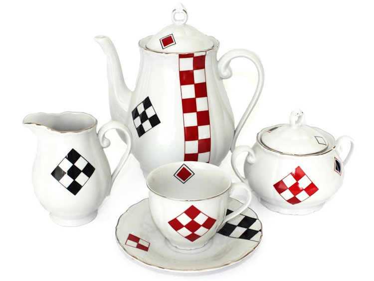 Red and Black Square Coffee Set