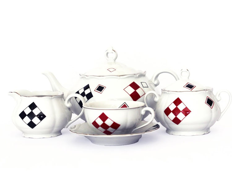 Red and Black Square Tea Set