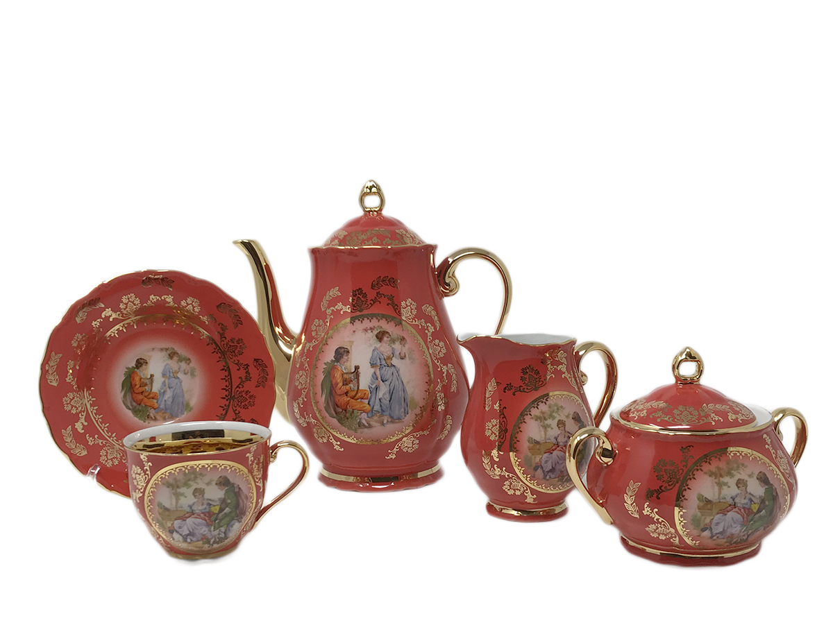 Madonna Original Red-Ruby Gold Coffee Set