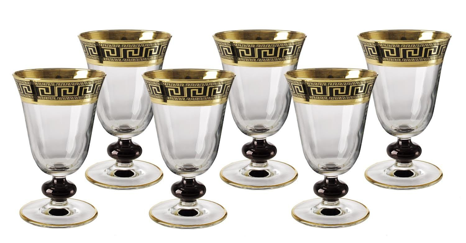 Italian Versace Crystal Wine Glasses Gold And Black Design Set of Six