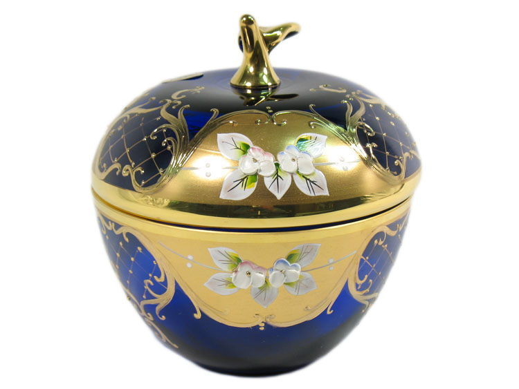 Bohemian Crystal High Enameled Bowl Apple Blue