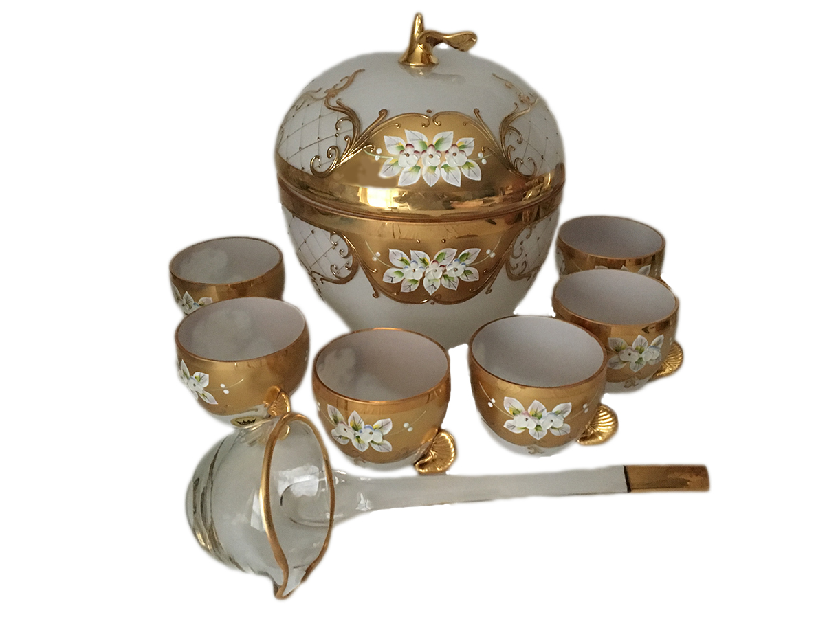 Bohemian Crystal High Enameled Punch Set White