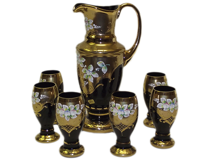 Bohemian Crystal High Enameled Water / Beer Set Black 7 pcs