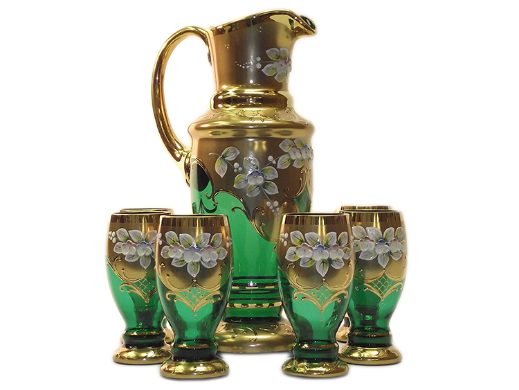Bohemian Crystal High Enameled Water / Beer Set Green 7 pcs
