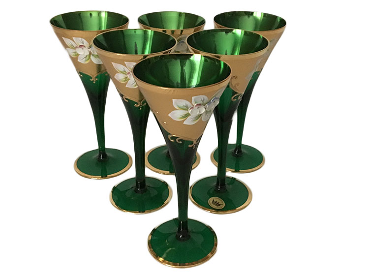 Bohemian Crystal High Enameled Glasses Green 150 ml / 5 oz