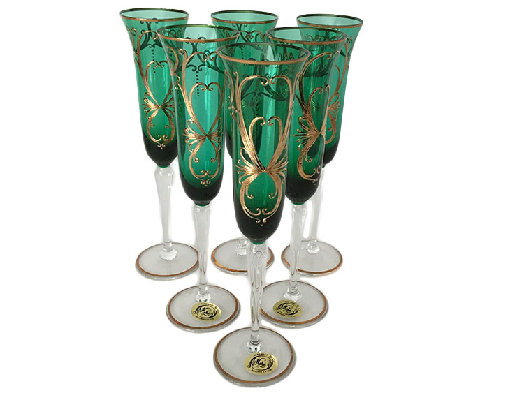 Bohemian Crystal High Enameled Glasses Green 120 ml / 4.25 oz