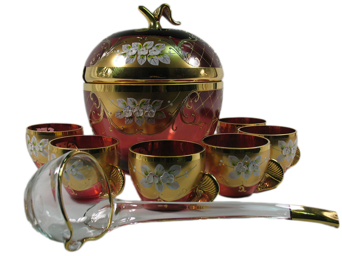 Bohemian Crystal High Enameled Punch Set Red / Ruby