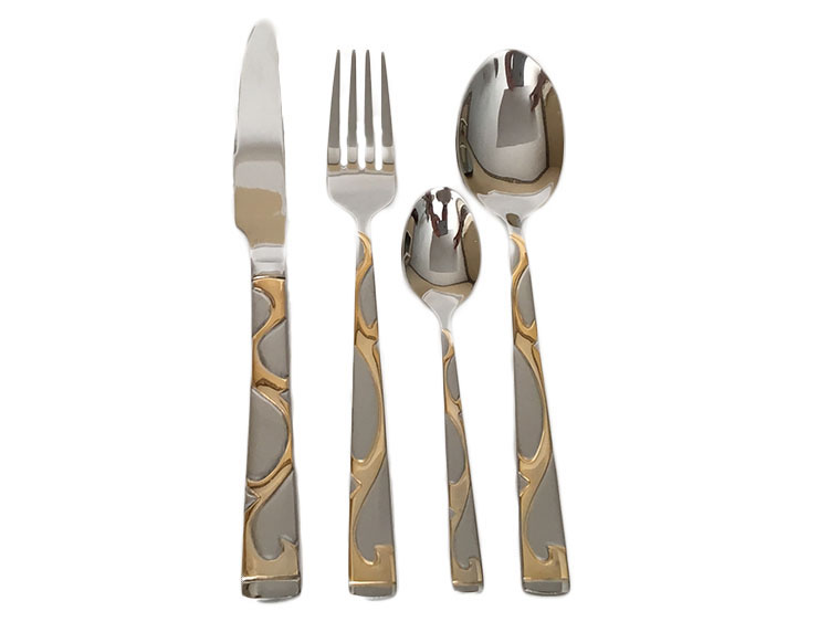 Stainless Steel Flatware Set with Gold Plated Swirl Design in Wooden Box