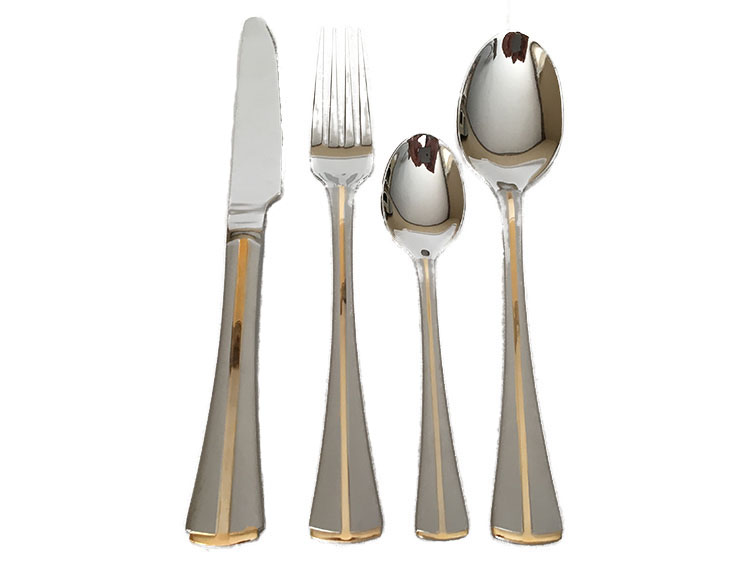 Stainless Steel Flatware Set with Gold Plated Design in Wooden Box