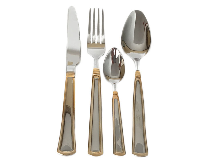 Stainless Steel Flatware Set with Gold Plated Rim Design in Wooden Box