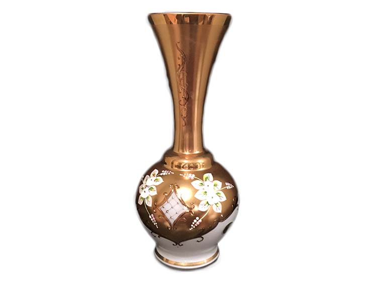 Bohemian Crystal High Enameled Vase White 31cm / 12.25""