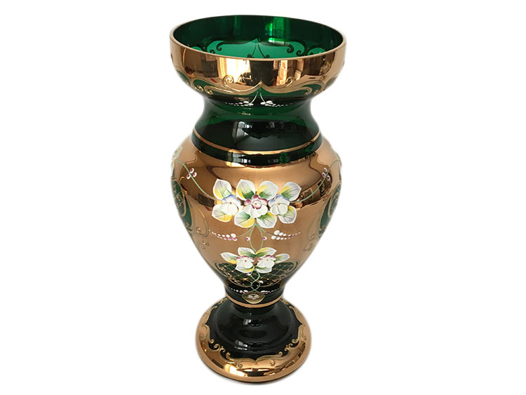 Bohemian Crystal High Enameled Vase Green 31cm / 12.25""