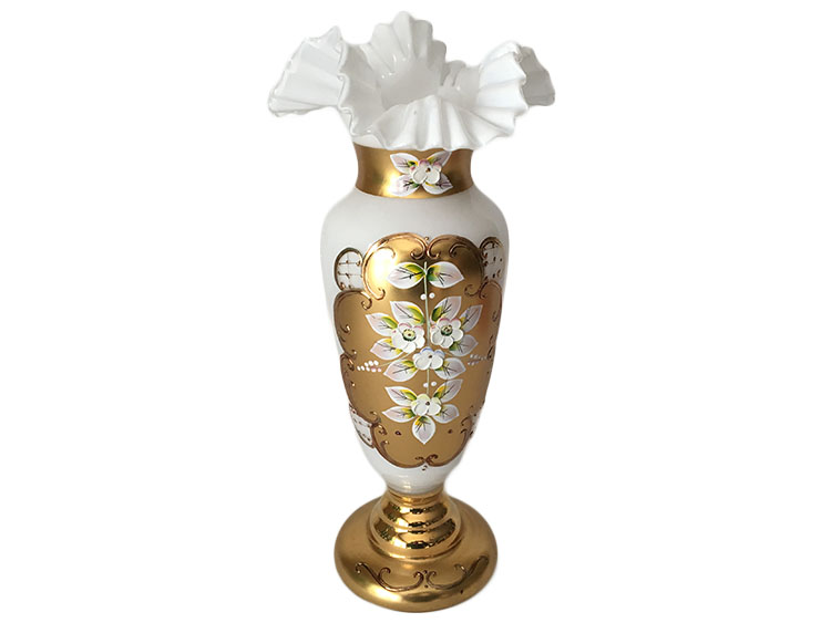 Bohemian Crystal High Enameled Vase White 30cm / 12""