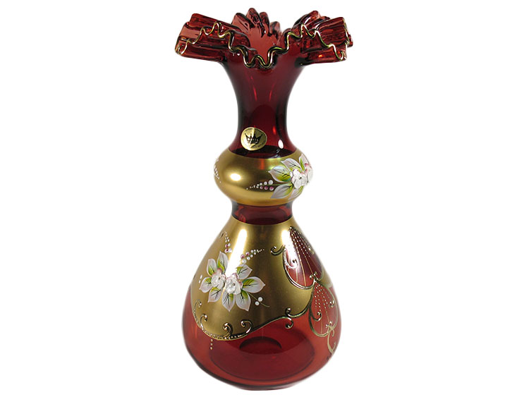 Bohemian Crystal High Enameled Vase Red 29cm / 11.5""