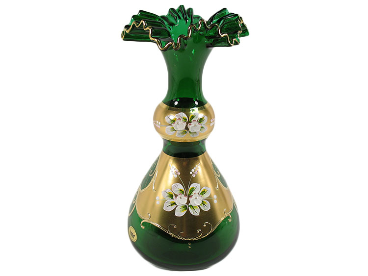 Bohemian Crystal High Enameled Vase Green 29cm / 11.5""
