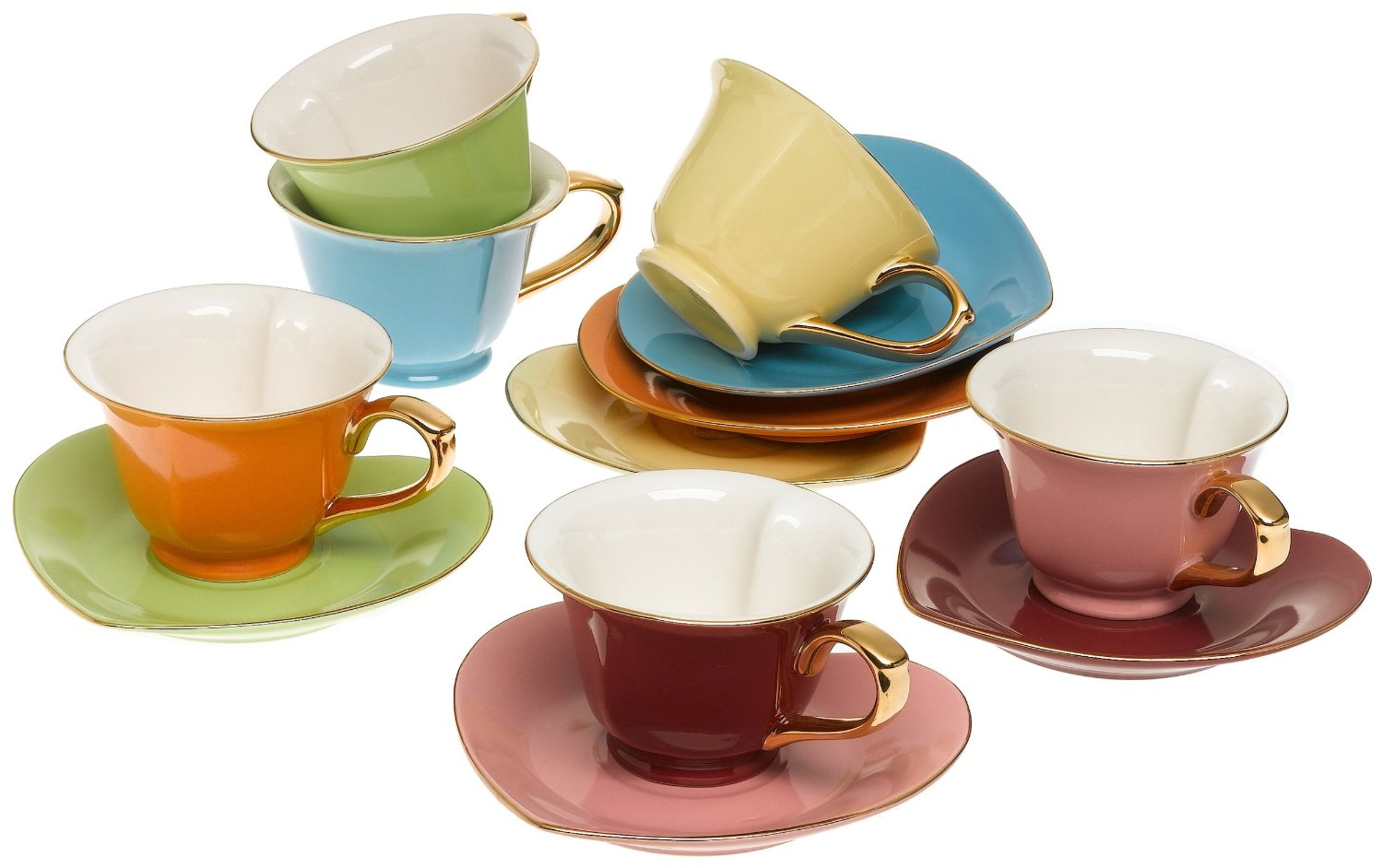 Classic Coffee & Tea Cups & Saucers, Set of 6, Assorted Colors, Inside Out Heart Design