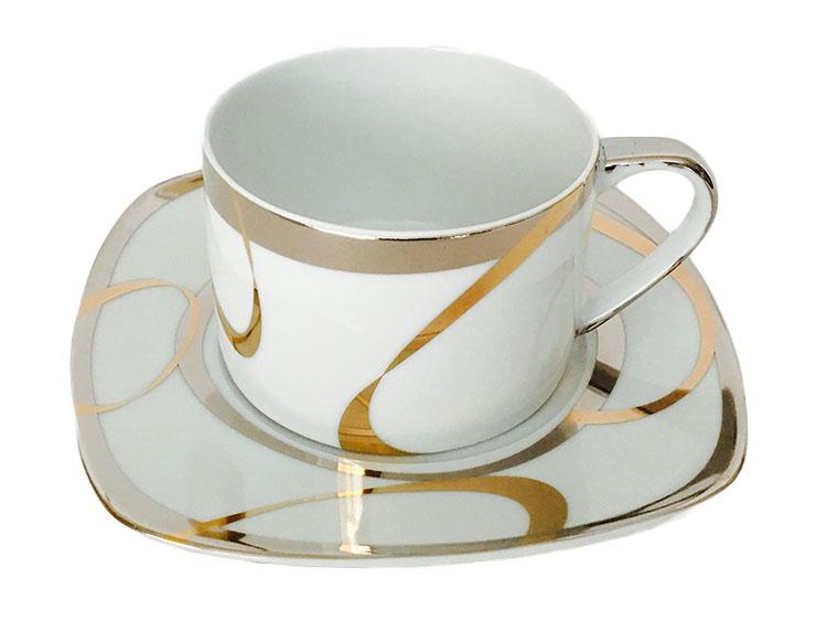 Classic Coffee & Tea Metallic Swirl Design Cups and Saucers