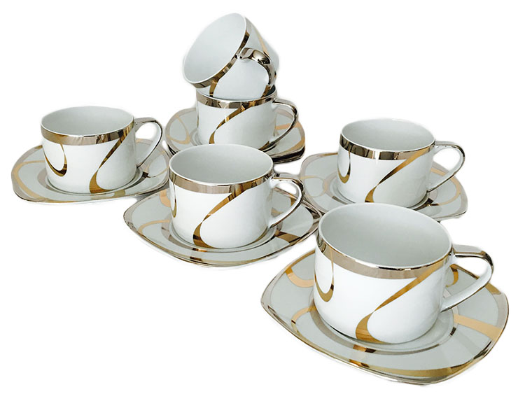 Classic Coffee & Tea Metallic Swirl Design  Cups and Saucers