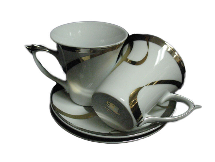 Classic Coffee & Tea Cups and Saucers with Metallic Swirl Design