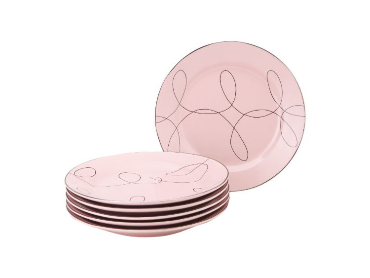Classic Coffee & Tea Porcelain Dessert Plates, Pink and Platinum, Set of 6