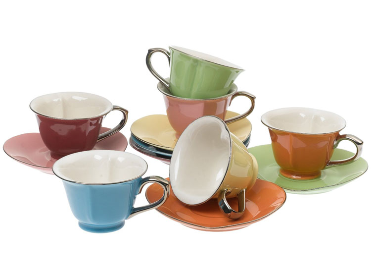 Classic Coffee & Tea Inside Out Heart Cups & Saucers