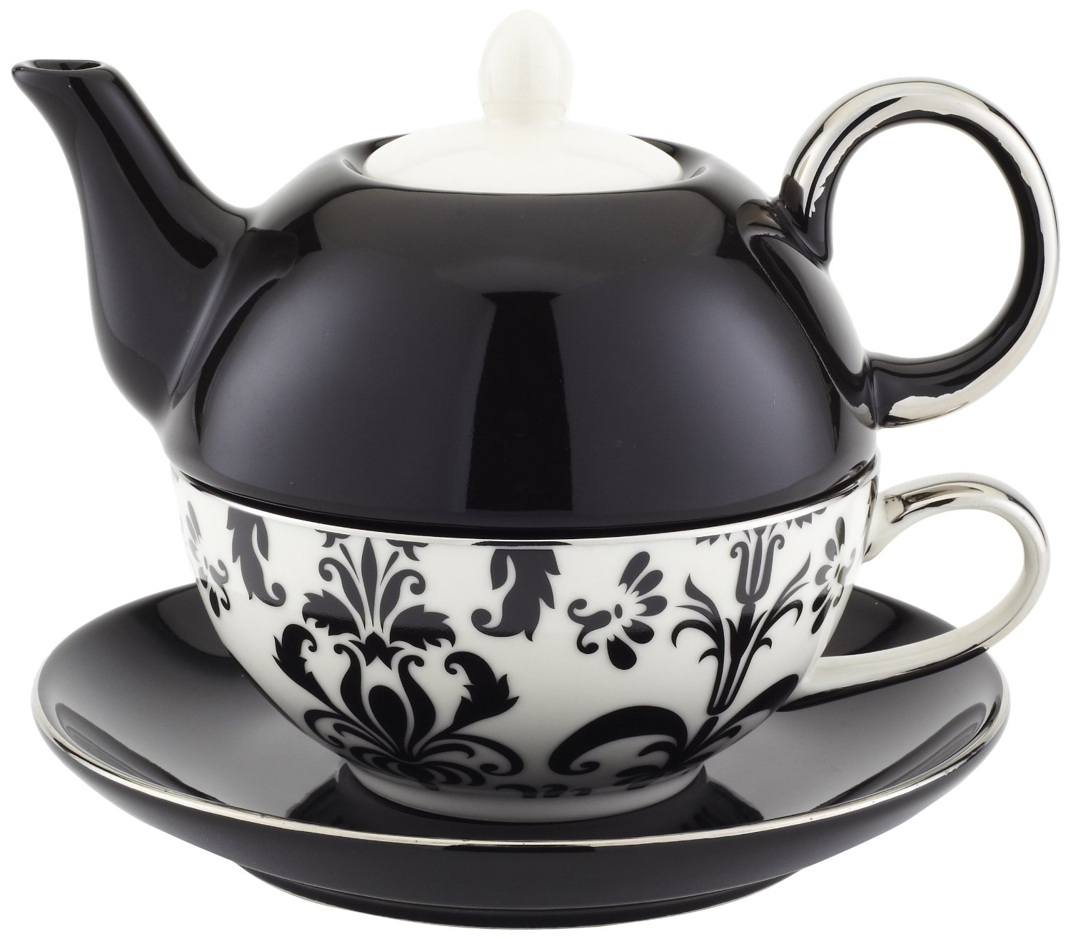 Classic Coffee & Tea Chic Tea Set for One  in Black & White Damask Design