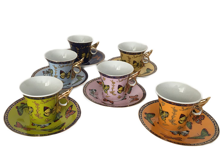 Classic Coffee and Tea Butterfly Espresso Cups and Saucers, Gold, Set of 6